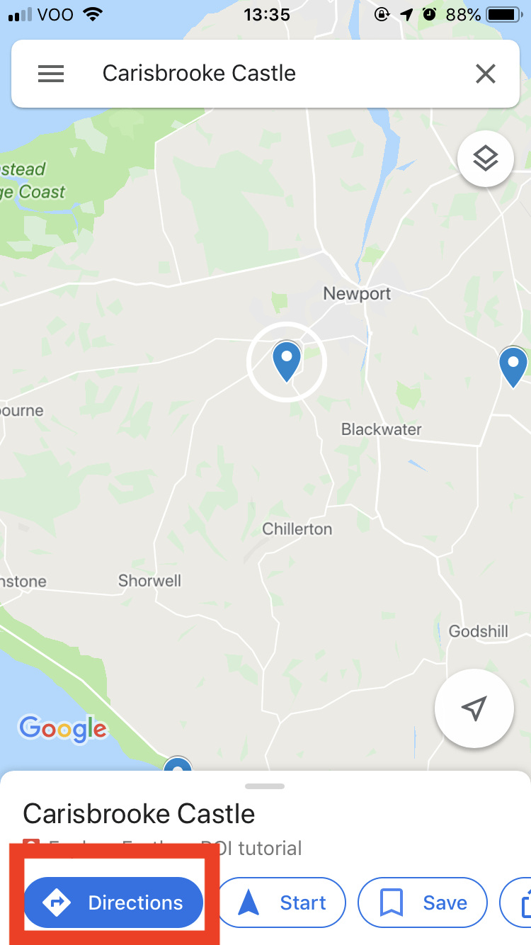 Google Maps - tap the POI you want to use.