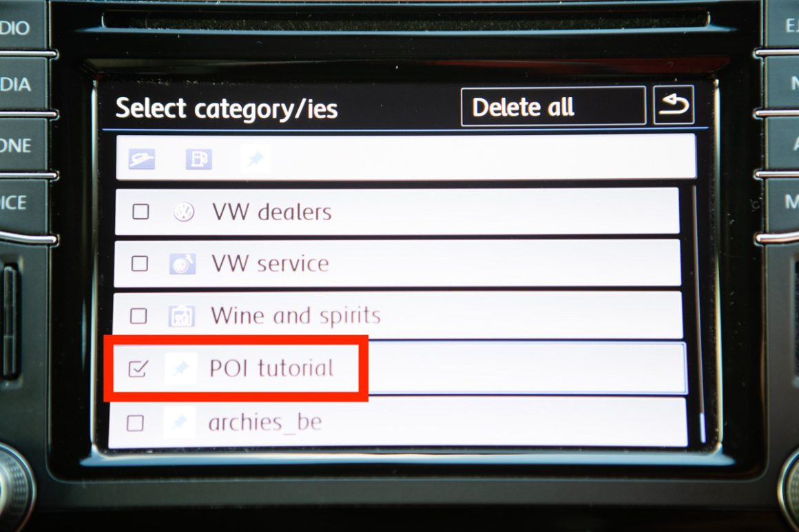 VW Discover Media - Select your POI.