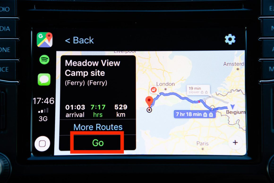 Google Maps in Car Play - tap Go to drive there.
