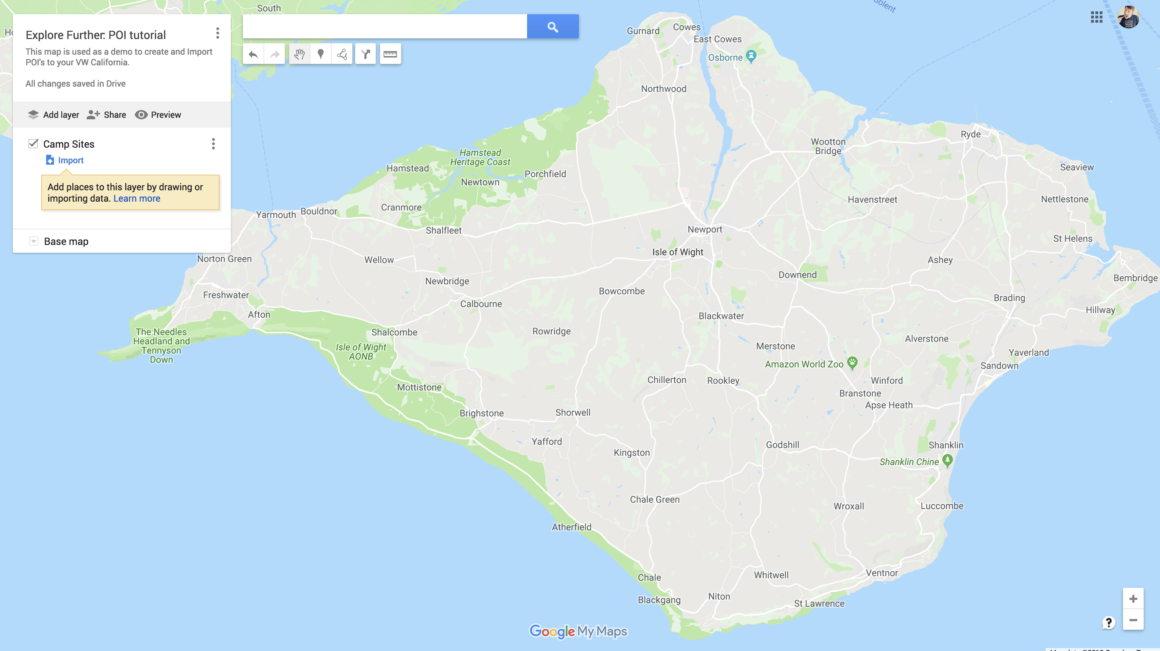 Google My Maps - Start with a new map.