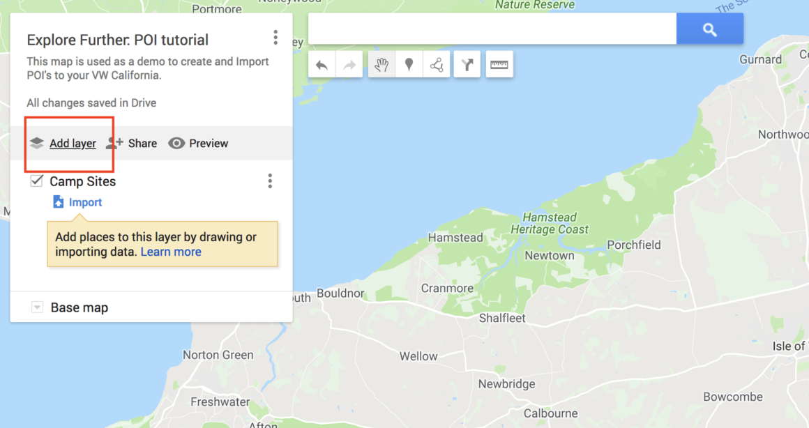 Google My Maps - Add one layer per type of POI.