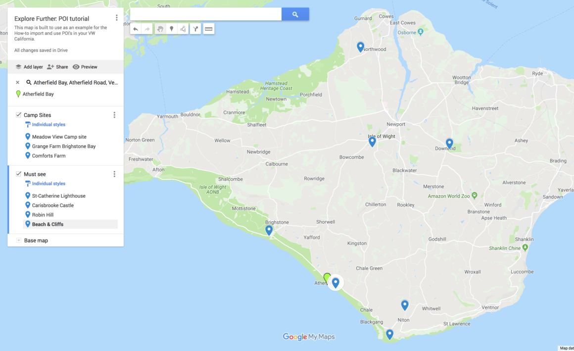 Google My Maps - Add all your POI's on the map.